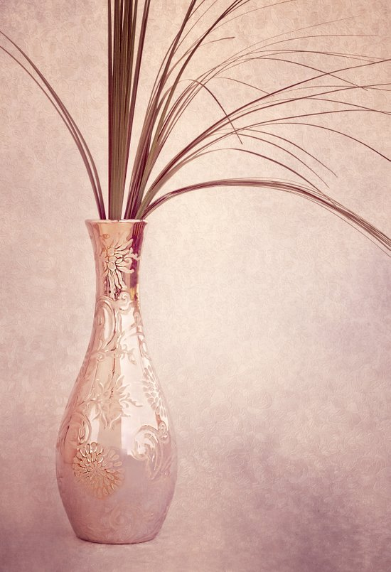 Elegant silver vase with grass in pink tones Art Print