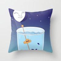 Waning Waterglass Moon - Submarine Throw Pillow