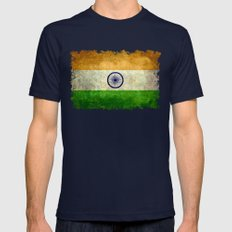 Flag of India - Vintage retro style Mens Fitted Tee Navy SMALL