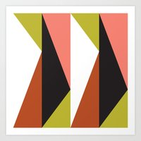 Pink, lime black triangle pattern (2015) Art Print