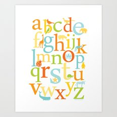 Alphabet Animals - Sandbox colorway Art Print