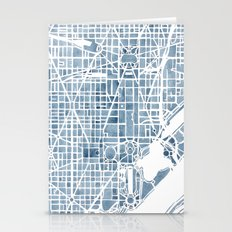 Washington DC Blueprint watercolor map Stationery Cards