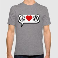Peace. Love. Anarchy. Mens Fitted Tee Tri-Grey SMALL