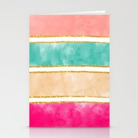Modern Stripes Pink Red Watercolor Gold Glitter Stationery Cards