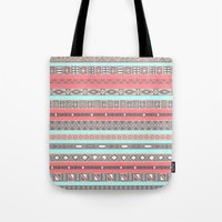 Peach Rose Baby Blue Aztec Tribal Native Pattern Tote Bag