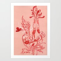 Red Burst Art Print