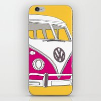 Retro Camper Van // Yellow and Pink iPhone & iPod Skin