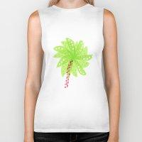 Pattern of Palm Tree-like Flowers Biker Tank