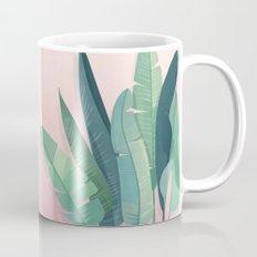 Tropical plants on pink background Mug