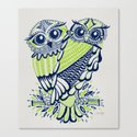 Owls – Navy & Lime Canvas Print