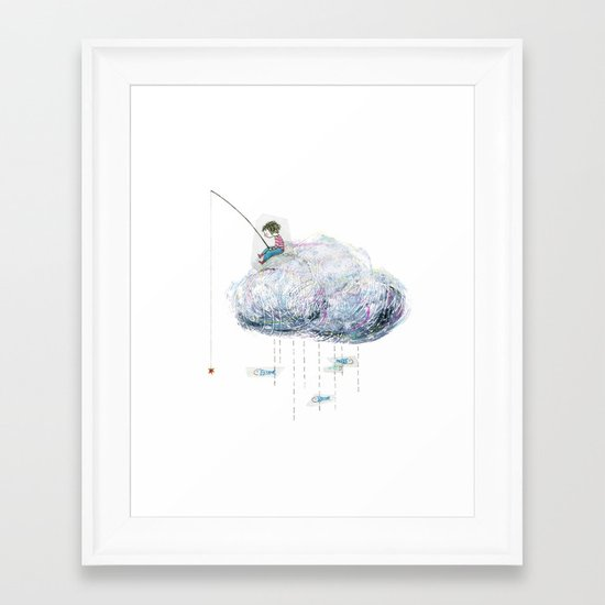 Fishing on a cloud Framed Art Print