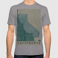 California Map Blue Vint… Mens Fitted Tee Athletic Grey SMALL