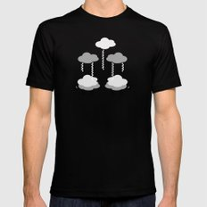 Wooly weather - Sheep Rain Clouds Mens Fitted Tee Black SMALL