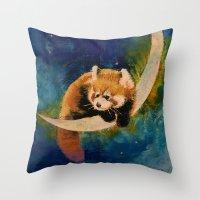 Red Panda Moon Throw Pillow