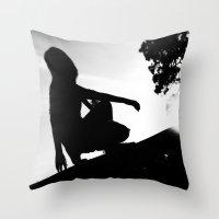 girl on a ledge Throw Pillow