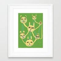 Connected Rabbits Framed Art Print