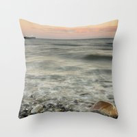 The red rock and the ship Throw Pillow