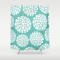 Turquoise Blossoms Shower Curtain