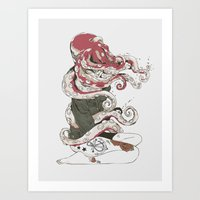 lady gaga Art Prints featuring My head is an octopus by Huebucket