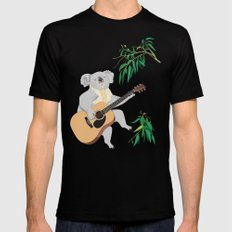 Koala Playing Guitar Mens Fitted Tee SMALL Black
