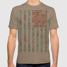 Flower Flag USA Mens Fitted Tee Tri-Coffee SMALL