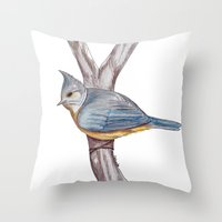 Grey-crested Tit Throw Pillow