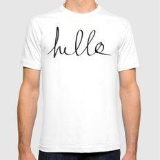 Hello White Mens Fitted Tee SMALL