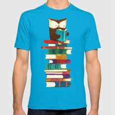 Owl Reading Rainbow Mens Fitted Tee Teal SMALL