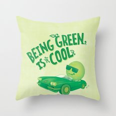 Being Green is Cool Throw Pillow