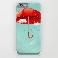 Teal Sky Red Umbrella iPhone 6 Slim Case
