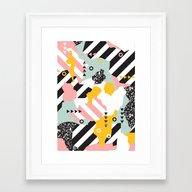 Spliced Geometric Memphi… Framed Art Print