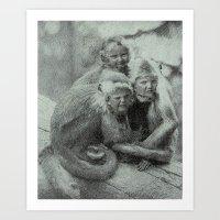 Monkey Children Art Print