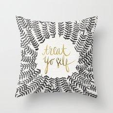 Treat Yo Self – Black & Gold Throw Pillow