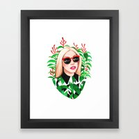 Lady And Photinia Framed Art Print