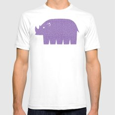 Fun at the Zoo: Rhino Mens Fitted Tee White SMALL