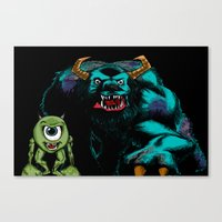 Mike & Sully (black)... Canvas Print