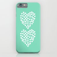iPhone & iPod Case featuring Hearts Heart x2 Mint by Project M