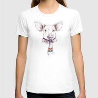 Pig and scarf Womens Fitted Tee White SMALL