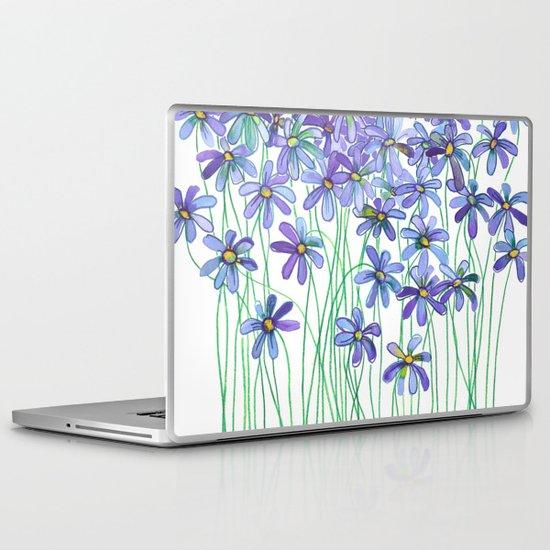 Purple Daisies in Watercolor & Colored Pencil Laptop & iPad Skin