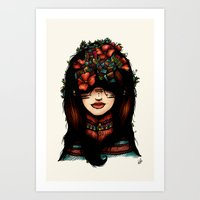 The girl who was thinking about geometry & red flowers Art Print