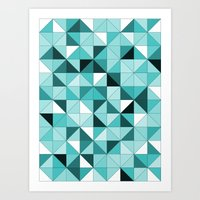 teal Art Prints featuring teal  by Hannah