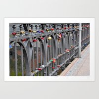 Lovers' padlocks Art Print