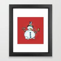 Snowman {Friendly - Red} Framed Art Print