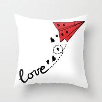 Origami Plane Throw Pillow