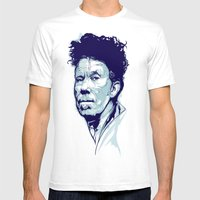 Tom Waits Portrait Mens Fitted Tee White SMALL