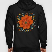 Decorative Whimsical Orange Flower Hoody