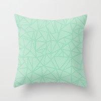 Geo Lines Mint Throw Pillow