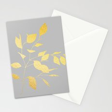 Leaves Gold on Grey Stationery Cards