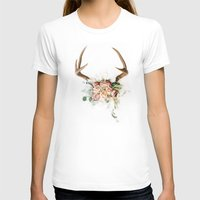 Floral Antlers V Womens Fitted Tee White SMALL