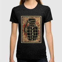 Peace Grenade Print Womens Fitted Tee Tri-Black SMALL